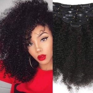 """18"""" Natural Black Clipin AFRO CURLY Hair Extension"""